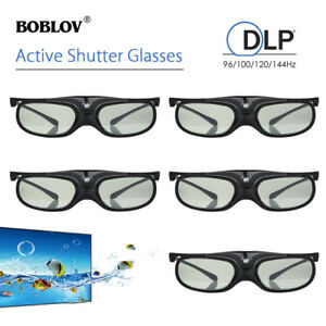 5x-3D-Active-Shutter-Glasses-DLP-Link-USB-96Hz-144Hz-Black-For-Optoma-BenQ