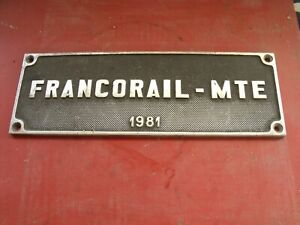 ancienne-PLAQUE-SNCF-FRANCORAIL-MTE-1981-TRAIN-GARAGE-AUTO-MOTO-no-emaillee