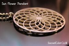 Sunflower Mandala Crop Circle Sacred Geometric Symbol Pendant