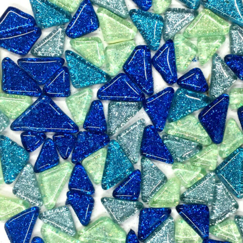 Triangle Square Glass Mosaic Tiles Glitter 120g Hand Craft DIY Wall Artwork Home