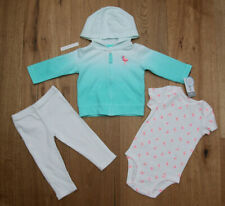 Carter/'s Baby Girl 3-Piece Pink White Fuzzy Little Jacket Set Sizes 9M 12M,18m
