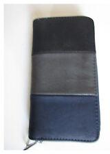 Elegante XL Mujer Monedero Cartera Cremallera Piel sintética azul-gris-negro