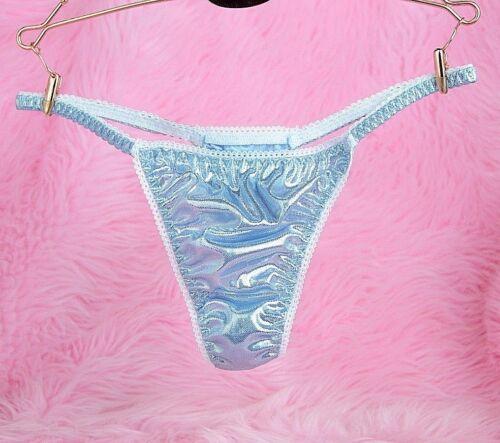 VTG sissy metallic foil BLUE LADIES triangle T thong metallic panties S//M LXL