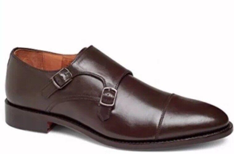Anthony Veer chaussures hommes Roosevelt II Moine Bracelet Main passepoil en cuir 7.5 marron