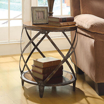 Round Oak Brown Wood Metal Drum Shape Contemporary Accent Side End Table Cabinet