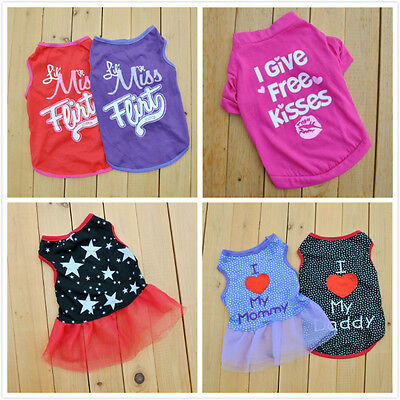 New Summer Various Pet Puppy Small Dog Cat Pet Clothes Vest Star Kiss Apparel