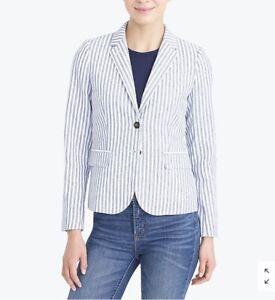 J-Crew-Womens-Jacket-Striped-Blazer-Blue-Size-0-Linen-Blend-2-Button-C8