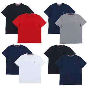 Tommy-Hilfiger-Mens-T-Shirt-Lot-of-2-Crew-Neck-Short-Sleeve-Solid-Flag-Logo-New