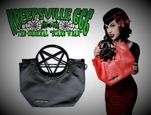82ee10b8a03b Details about Kreepsville 666 Black Red Pentagram Skull Purse Bag Handbags  for Punk Goth Women