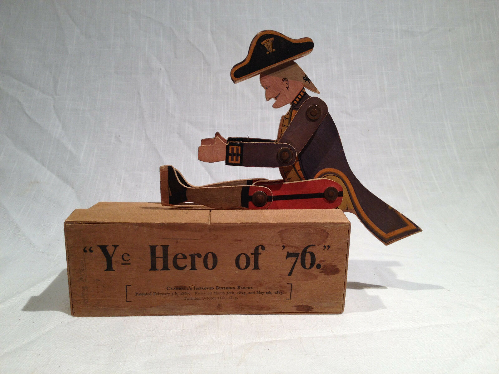 CRANDALL'S TOY YE HERO OF '76 JOINTED WOOD WOOD WOOD COLONIAL SOLDIER WITH ORIGINAL BOX 6c1995
