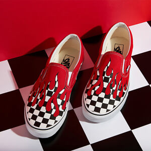 8a37b7ca393 New VANS Mens Checker Flame Slip on RED   WHITE VN0A38F7RX5 US M 7 ...