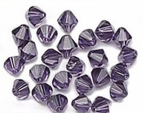 25 Bicone Glasschliffperlen ca 6mm #14 dunkel lila
