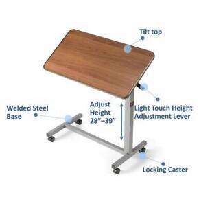 Adjustable-Tilt-Top-Overbed-Bedside-Table-Medical-Hospital-Bed-Tray-Chrome