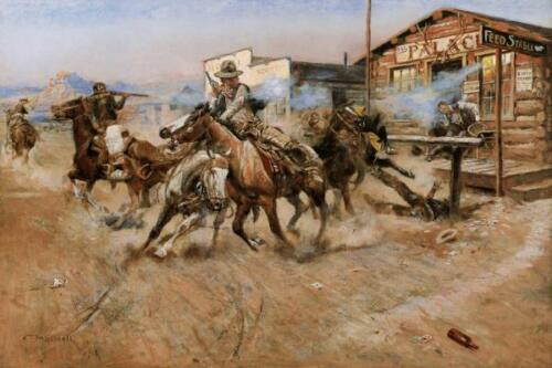 Smoke of a .45 by Charles Russell Western Cowboy Gun Fight 36x24 Paper Print