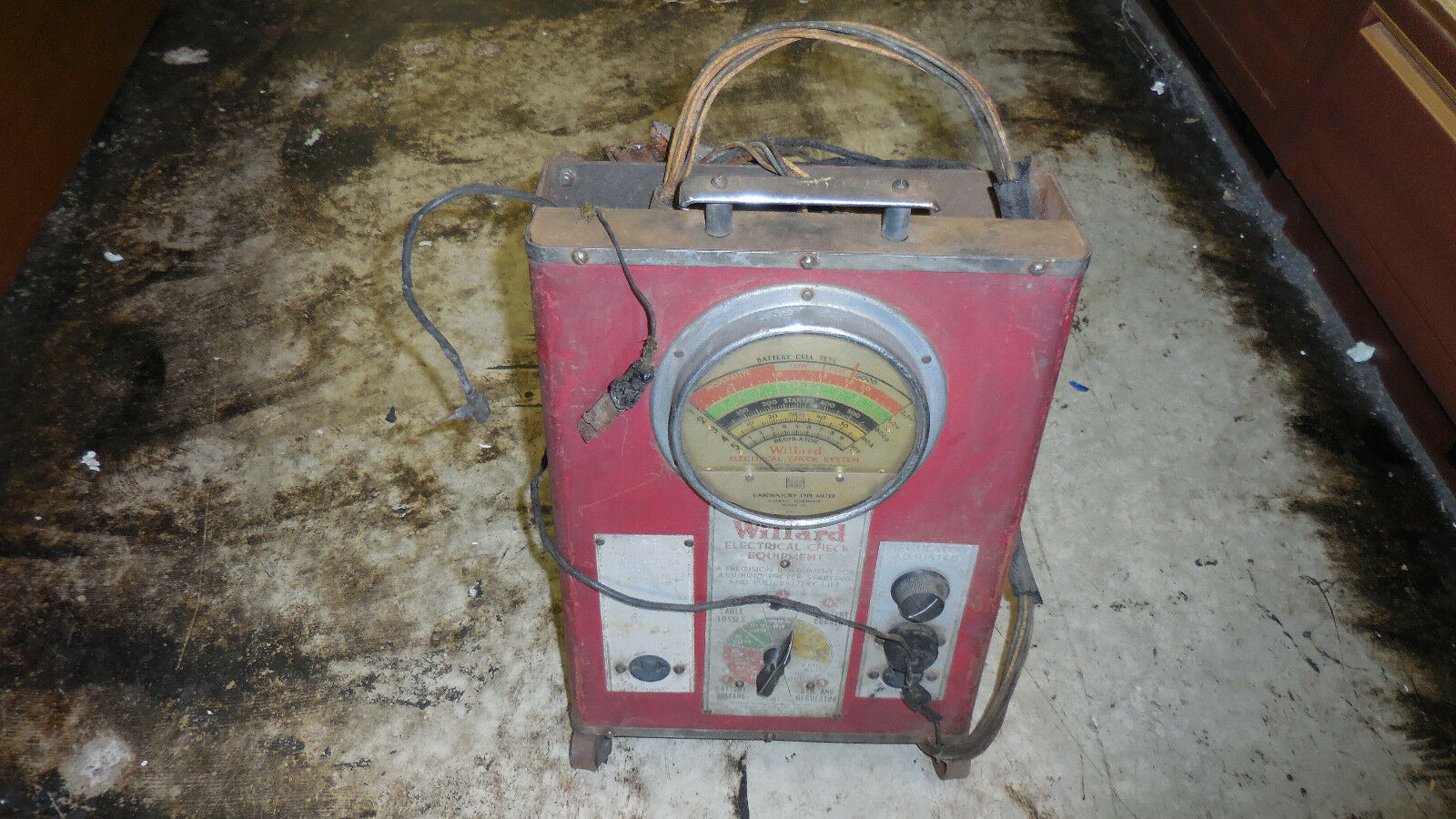 WILLARD ELECTRICAL CHECK EQUIPMENT MODEL WD-IA BATTERY TESTER-NOT WORKING