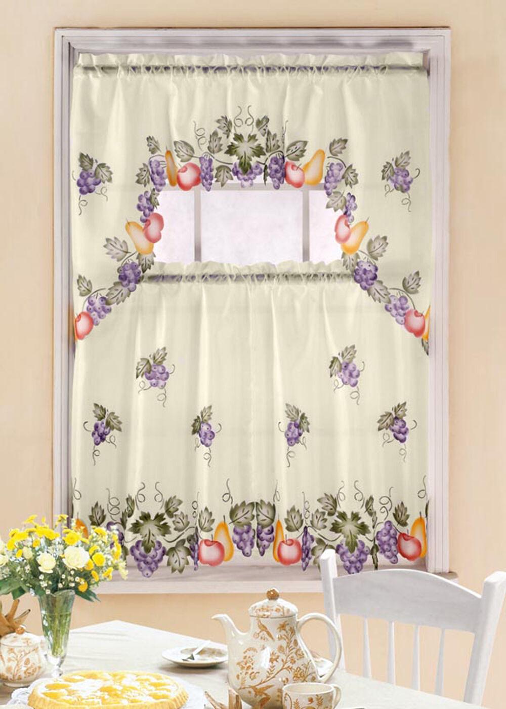 Grapevine Printed Kitchen Window Curtain Set Complete