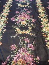 Fabric Cotton Vintage Floral Black Purple Orange Fabrics 6 Yards