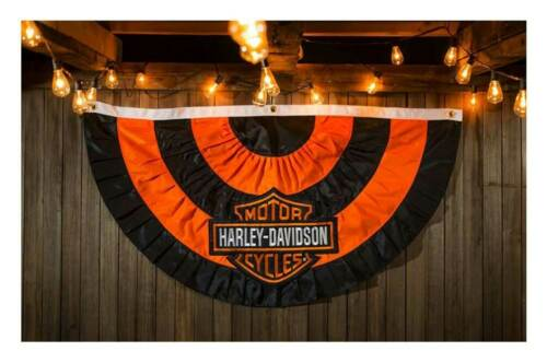 22N4900 environ 66.04 cm Harley-Davidson Bar /& Shield logo appliqué Bunting Flag 50 X 26 in