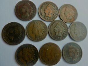 10-Vintage-Indian-Head-Cents-1880s-1900s-PLUS-FREE-SHIPPING