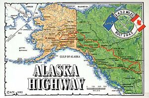Alaska Highway State Map, Juneau, Anchorage, Fairbanks etc, Canada ...