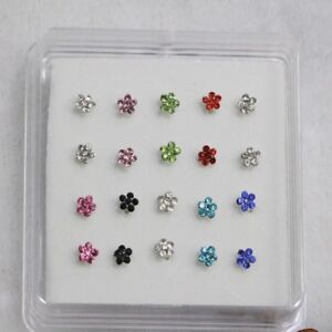 Steel-Jewelry-Fashion-Gems-Flower-Body-Piercing-Nose-Studs-Ring-Nose-Rings