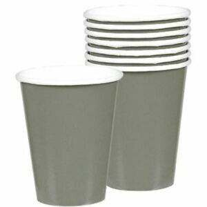8-Silver-Grey-Paper-Cups-9oz-266ml-Birthday-Party-Wedding-Colour-Tableware