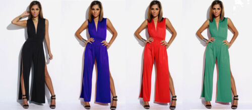 Business Event Party Double Slit Deep V-neck Open Leg Palazzo Jumpsuit SMALL