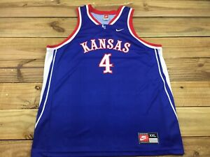 release date: ff2e5 296de Details about VTG 90's Team Nike KU Kansas Jayhawks #4 Basketball Jersey  XXL Made in USA