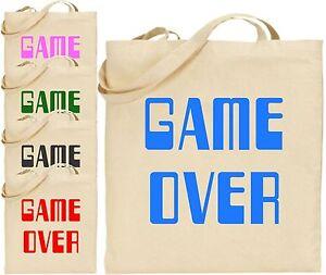Game Over Groß Baumwoll-trage<wbr/>tasche Konsole Gaming Computer Retro Einkauf