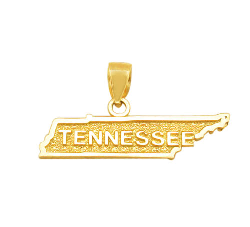 10k or Jaune TENNESSEE STATE MAP Charm Tennessee Forme Pendentif