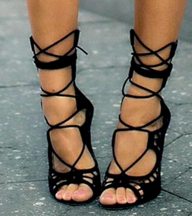Chaussures Femme à Lanières Bride Cheville Bout Ouvert Sandales Bottines Stilettos Talon Haut Chaussure