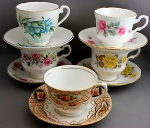 LOT OF 5 MADE IN ENGLAND TEACUPS & SAUCERS-VARIOUS MAKERS  #30