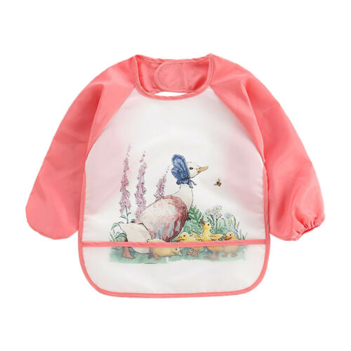 Cartoon Full Sleeve Baby Bibs Waterproof Paint Coverall Feeding Burp Apron