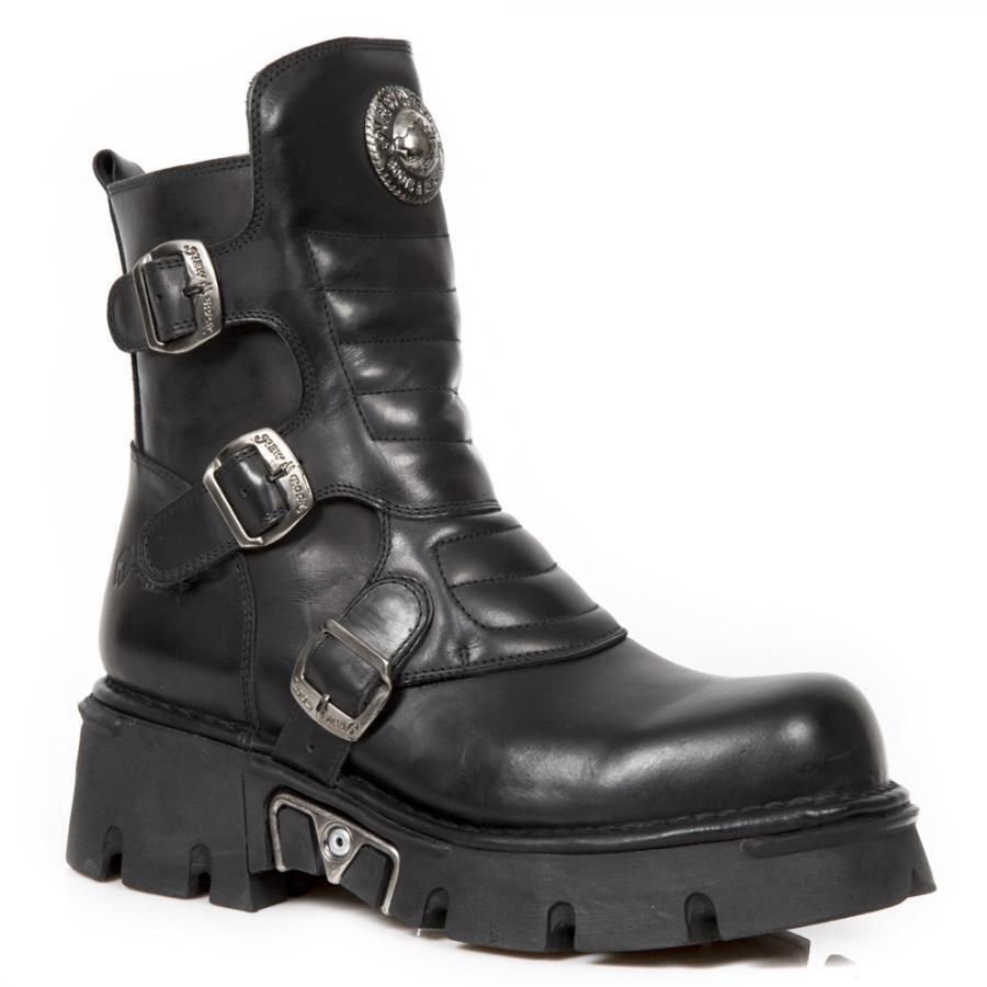 Stivaletto pelliccia Fibbie NEW ROCK Nero Fibbie pelliccia Buckle leather boot 5913fd
