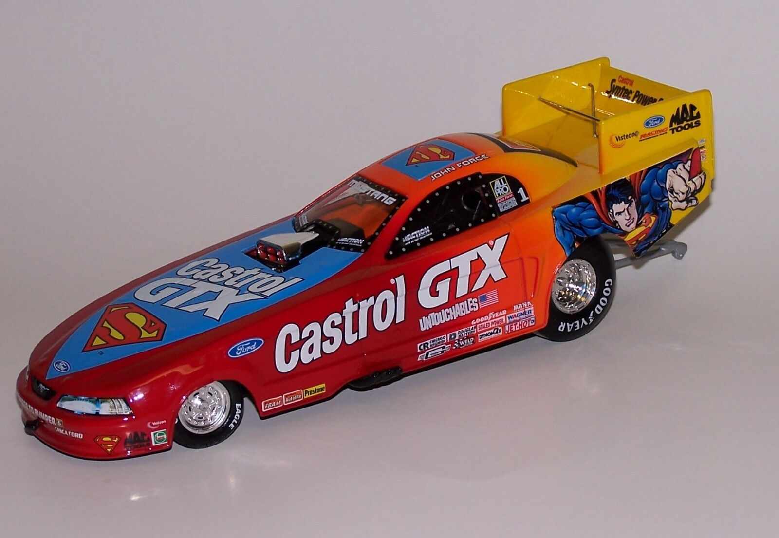 John Force 1 24 Action 1999 Ford Mustang Funny Car  1 Castrol   Superman