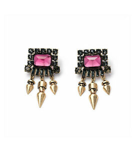 Exquiste-Anthropolo-gie-Macha-Pink-Black-Rhinestone-Jumbo-Glam-Earrings
