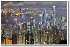 Breathtaking Hong Kong China - Foreign City Night Aerial View - NEW POSTER