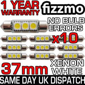10x 37mm 239 272 SV8.5 6000k BRIGHT WHITE 3 SMD LED FESTOON LIGHT NO BULB ERROR