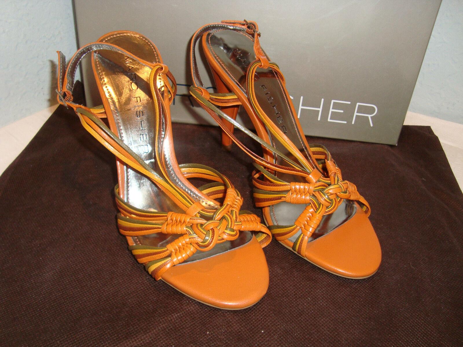 NEU Marc Fisher Salena Orange Multi Leder Sandales 7 Medium