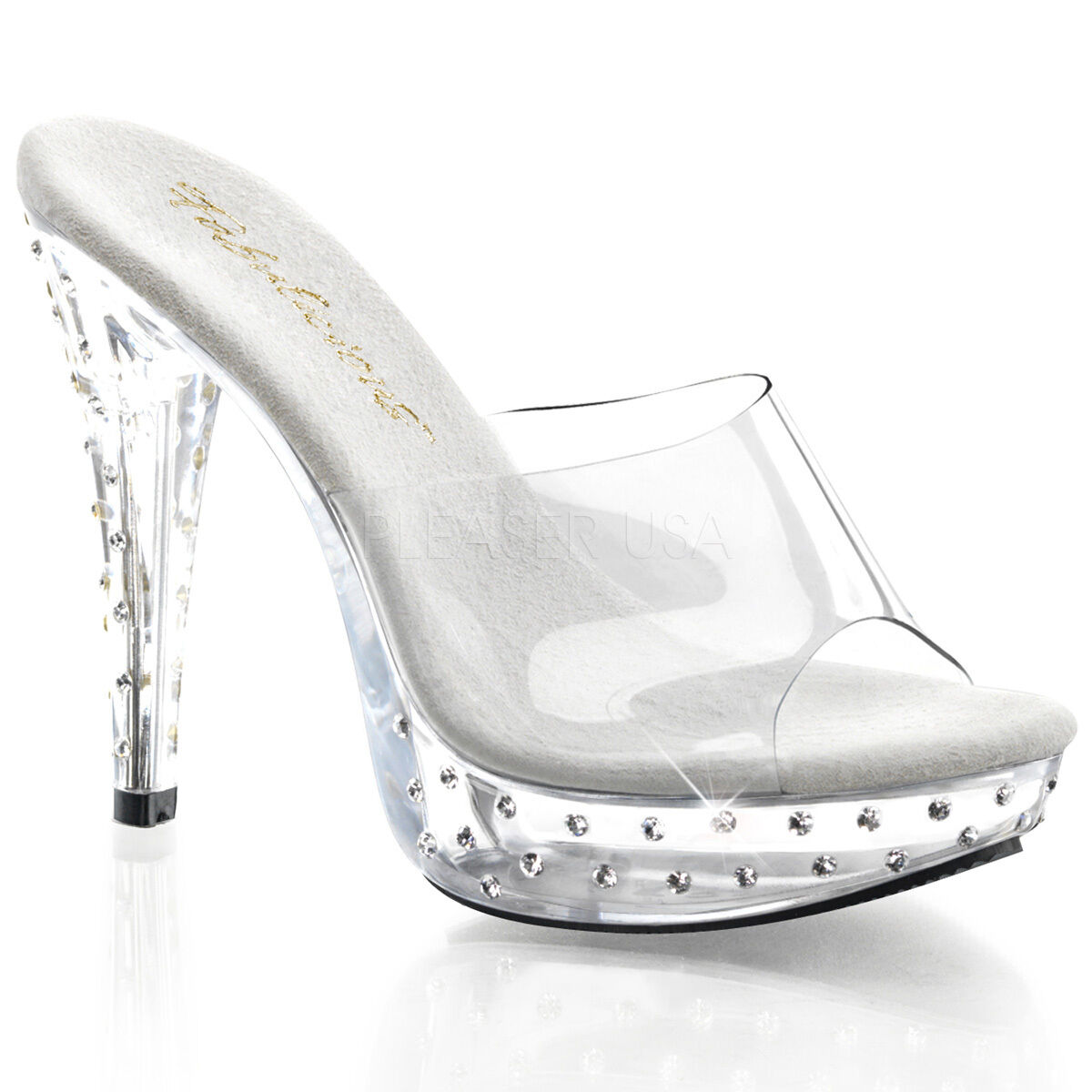 PLEASER Sexy Slip On Jewel Platform Studded Clear Platform Jewel 5  Heels Stripper Dancer schuhe 23ce10