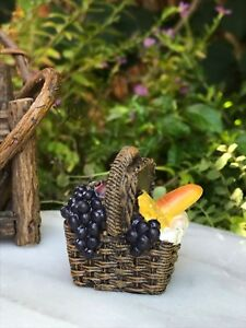 Miniature Dollhouse FAIRY GARDEN Accessories ~ Resin Picnic Basket Red /& White