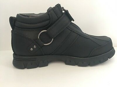 New Polo Ralph Lauren Conquest II Men's Black Leather Boot