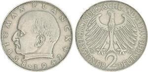 2 DM Planck On Magnetic Ronde 1960 D Germany Frg J.392 VF
