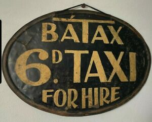 Antique Vintage Taxi Rare Advertising Sign C1930's  6d Painted Metal Not Enamel