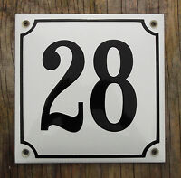 Classic Enamel House Number Sign. Black No.28 On A White Background, 16x16cm.