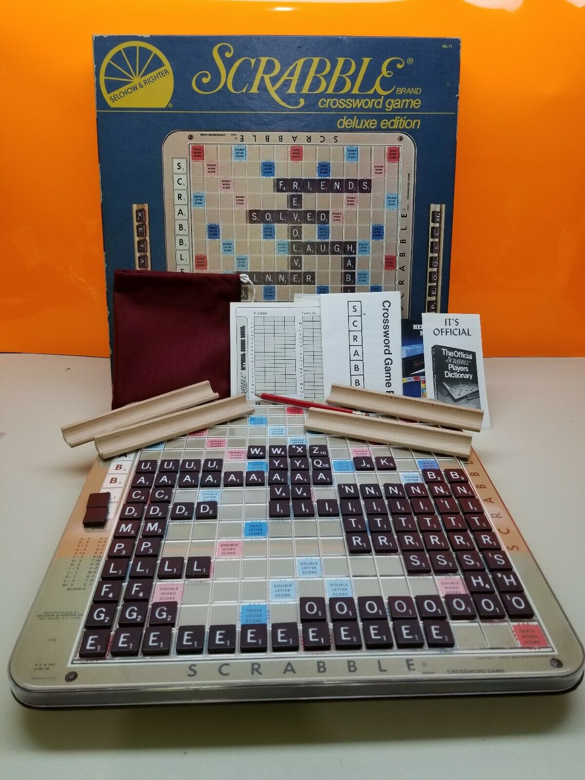 Scrabble Crossword Game Deluxe Edition Vintage Collectible Board Game 1982