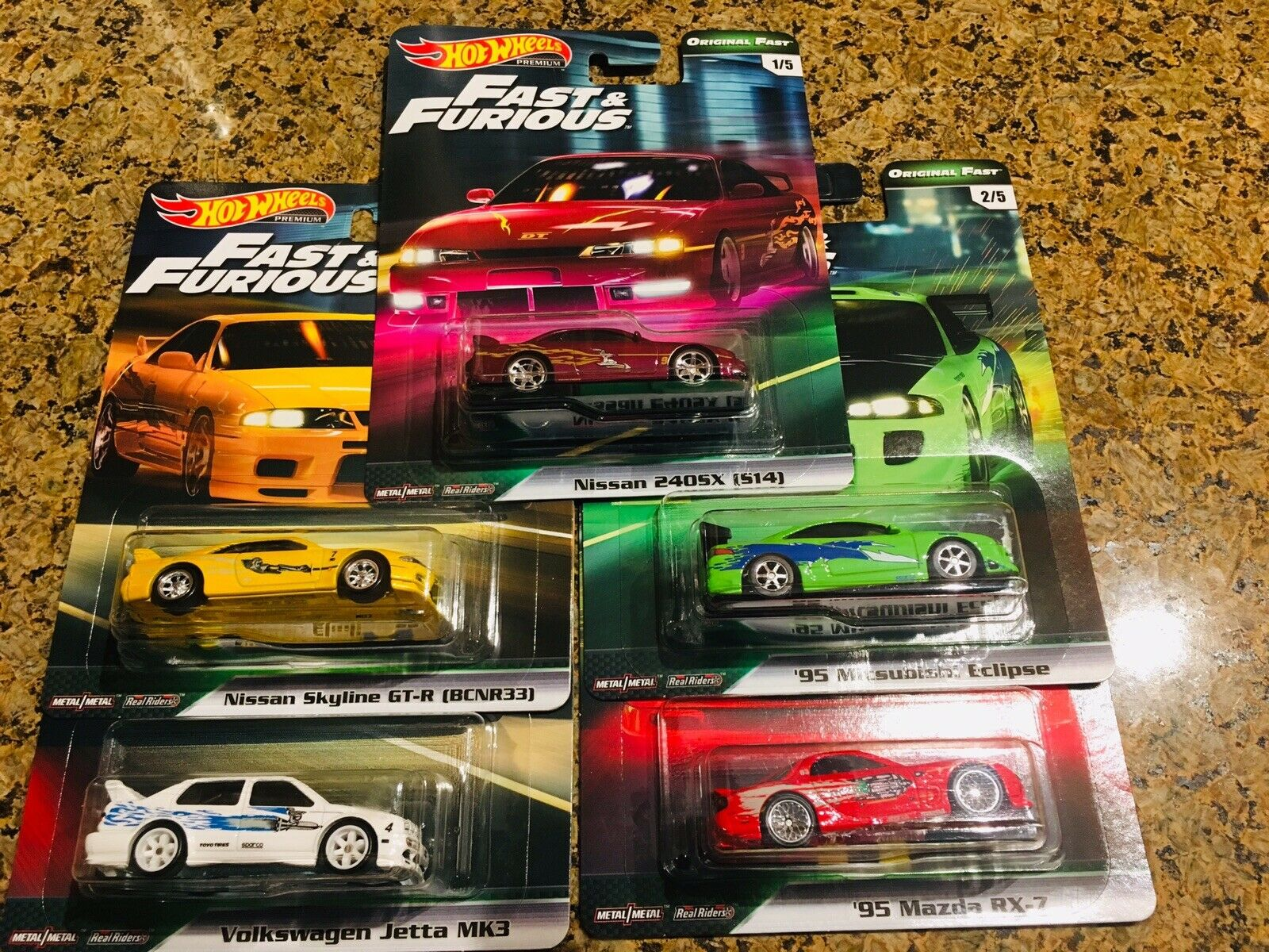 2019 HOT WHEELS FAST & FURIOUS ORIGINAL FAST SET OF 5 In Hand Ready To Ship.