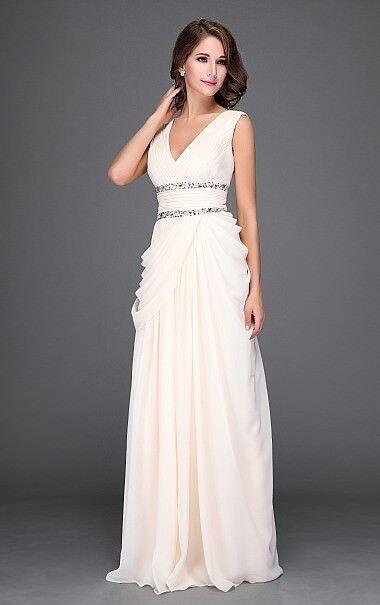 Abendkleid Ballkleid Designerkleid Tanzkleid von Festamo, cremefarben, Gr. 40