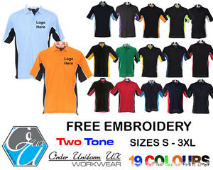Image Is Loading Embroidered Two Tone Polo Shirt Gear Workwear Designer