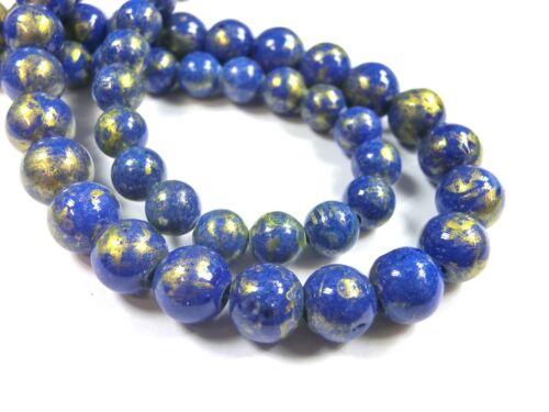Jade 6mm color azul con goldschimmer balas aproximadamente perlas joyas perlas